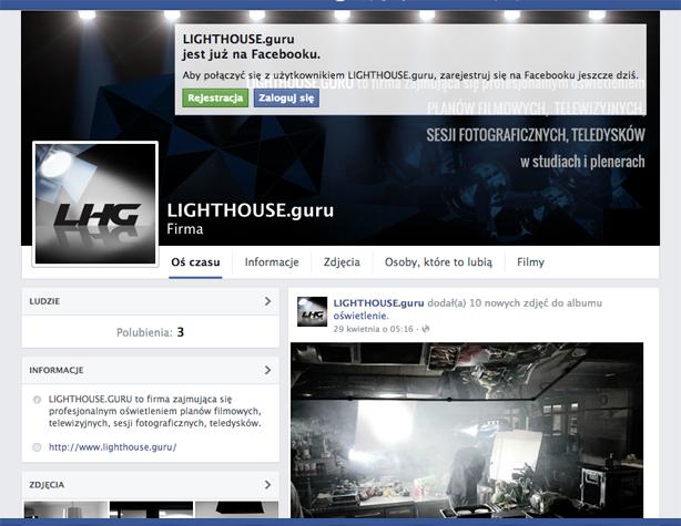 projekt strony na fb